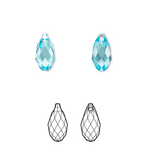 drop, swarovski crystals, aquamarine, 11x5.5mm faceted briolette pendant (6010). sold per pkg of 144 (1 gross).