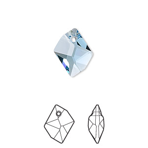 drop, swarovski crystals, aquamarine, 14x11mm faceted cosmic pendant (6680). sold per pkg of 144 (1 gross).