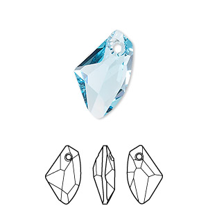 drop, swarovski crystals, aquamarine, 19x11mm faceted galactic vertical pendant (6656). sold per pkg of 48.