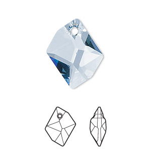 drop, swarovski crystals, aquamarine, 20x16mm faceted cosmic pendant (6680). sold per pkg of 72.