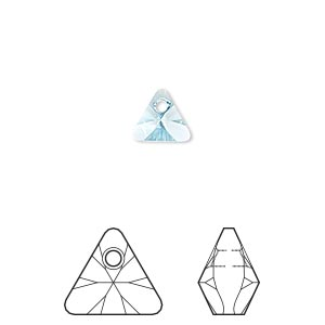 drop, swarovski crystals, aquamarine, 8mm xilion triangle pendant (6628). sold per pkg of 288 (2 gross).
