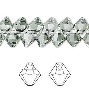 drop, swarovski crystals, black diamond, 8mm faceted bicone pendant (6301). sold per pkg of 288 (2 gross).