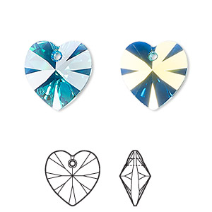 drop, swarovski crystals, blue zircon ab, 14x14mm faceted heart pendant (6202). sold per pkg of 144 (1 gross).