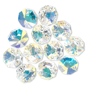 drop, swarovski crystals, crystal ab, 12x12mm faceted octagon pendant (6401). sold per pkg of 144 (1 gross).