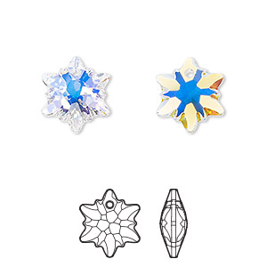 drop, swarovski crystals, crystal ab, 14mm faceted edelweiss pendant (6748). sold per pkg of 72.