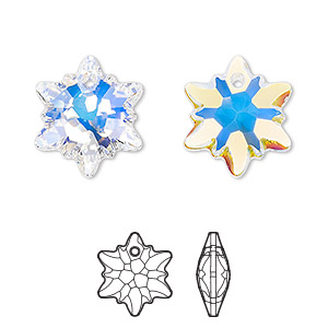 drop, swarovski crystals, crystal ab, 18mm faceted edelweiss pendant (6748). sold per pkg of 48.