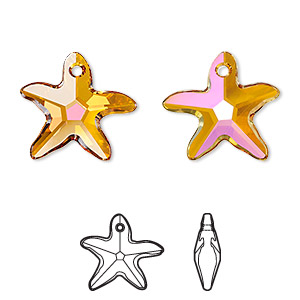 drop, swarovski crystals, crystal astral pink, 17x16mm faceted starfish pendant (6721). sold per pkg of 72.