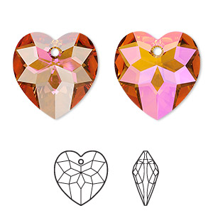 drop, swarovski crystals, crystal astral pink, 18x17mm faceted heart pendant (6215). sold per pkg of 72.