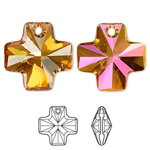drop, swarovski crystals, crystal astral pink, 20x20mm faceted cross pendant (6866). sold per pkg of 72.