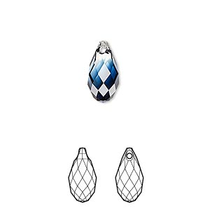 drop, swarovski crystals, crystal blend colors, crystal passions, crystal clear and montana, 13x6.5mm faceted briolette pendant (6010). sold per pkg of 24.