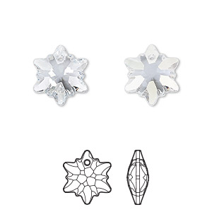 drop, swarovski crystals, crystal blue shade, 14mm faceted edelweiss pendant (6748). sold per pkg of 72.