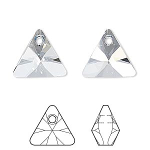 drop, swarovski crystals, crystal blue shade, 16mm xilion triangle pendant (6628). sold per pkg of 72.