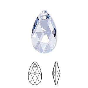drop, swarovski crystals, crystal blue shade, 22x13mm faceted pear pendant (6106). sold per pkg of 96.