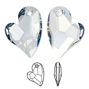 drop, swarovski crystals, crystal blue shade, 27x20mm faceted devoted 2 u heart pendant (6261). sold per pkg of 20.