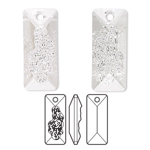drop, swarovski crystals, crystal clear, 26mm faceted grow rectangle pendant (6925). sold per pkg of 12.