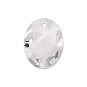 drop, swarovski crystals, crystal clear, 26x20mm faceted kaputt oval pendant (6911). sold individually.