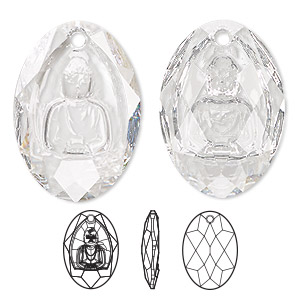 drop, swarovski crystals, crystal clear, 28x19.8mm faceted buddha pendant (6871). sold per pkg of 10.