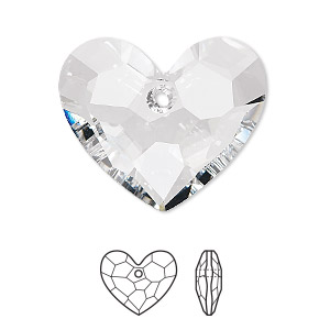 drop, swarovski crystals, crystal clear, 28x23mm faceted truly in love heart pendant (6264). sold per pkg of 16.