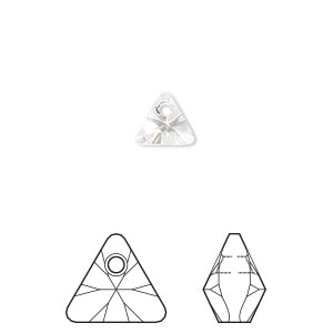 drop, swarovski crystals, crystal clear, 8mm xilion triangle pendant (6628). sold per pkg of 288 (2 gross).