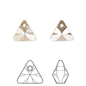 drop, swarovski crystals, crystal golden shadow, 12mm xilion triangle pendant (6628). sold per pkg of 144 (1 gross).