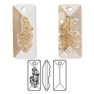 drop, swarovski crystals, crystal golden shadow, 26mm faceted grow rectangle pendant (6925). sold per pkg of 12.