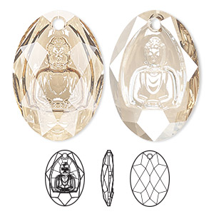 drop, swarovski crystals, crystal golden shadow, 28x19.8mm faceted buddha pendant (6871). sold per pkg of 10.