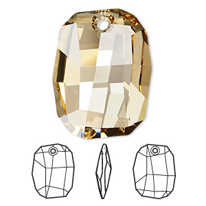 drop, swarovski crystals, crystal golden shadow, 28x21mm faceted graphic pendant (6685). sold per pkg of 24.