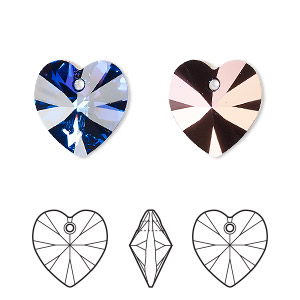 drop, swarovski crystals, crystal heliotrope, 14x14mm xilion heart pendant (6228). sold per pkg of 144 (1 gross).