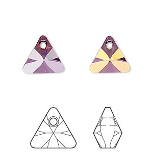 drop, swarovski crystals, crystal lilac shadow, 12mm xilion triangle pendant (6628). sold per pkg of 144 (1 gross).