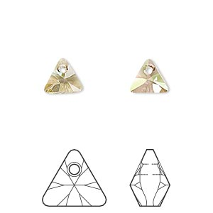 drop, swarovski crystals, crystal luminous green, 8mm xilion triangle pendant (6628). sold per pkg of 288 (2 gross).