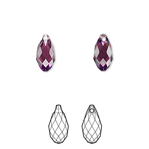 drop, swarovski crystals, crystal passions, amethyst, 11x5.5mm faceted briolette pendant (6010). sold individually.