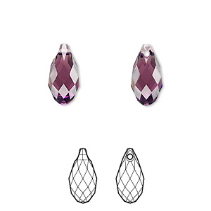 drop, swarovski crystals, crystal passions, amethyst, 13x6.5mm faceted briolette pendant (6010). sold individually.