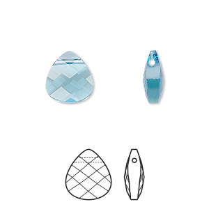 drop, swarovski crystals, crystal passions, aquamarine, 11x10mm faceted puffed briolette pendant (6012). sold per pkg of 24.