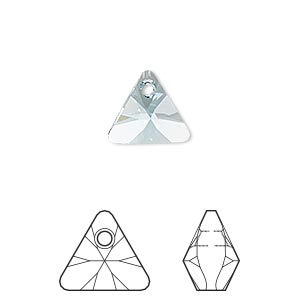 drop, swarovski crystals, crystal passions, aquamarine, 12mm xilion triangle pendant (6628). sold per pkg of 2.