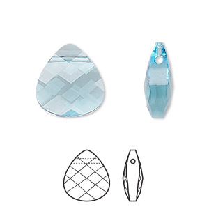 drop, swarovski crystals, crystal passions, aquamarine, 15x14mm faceted puffed briolette pendant (6012). sold individually.