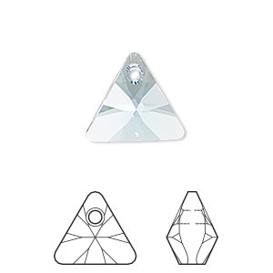 drop, swarovski crystals, crystal passions, aquamarine, 16mm xilion triangle pendant (6628). sold per pkg of 6.