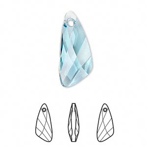 drop, swarovski crystals, crystal passions, aquamarine, 23x10mm faceted wing pendant (6690). sold individually.