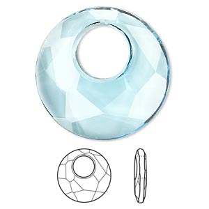 drop, swarovski crystals, crystal passions, aquamarine, 28mm faceted victory pendant (6041). sold per pkg of 6.