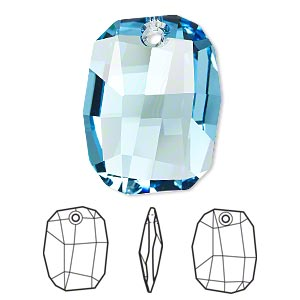 drop, swarovski crystals, crystal passions, aquamarine, 28x21mm faceted graphic pendant (6685). sold individually.
