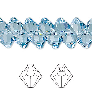 drop, swarovski crystals, crystal passions, aquamarine, 8mm faceted bicone pendant (6301). sold per pkg of 144 (1 gross).