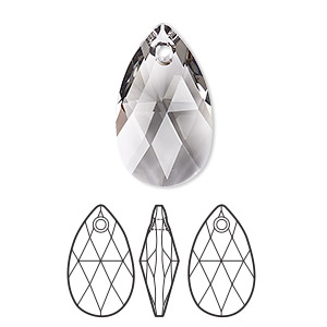 drop, swarovski crystals, crystal passions, black diamond, 22x13mm faceted pear pendant (6106). sold per pkg of 24.