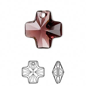 drop, swarovski crystals, crystal passions, burgundy, 20x20mm faceted cross pendant (6866). sold individually.