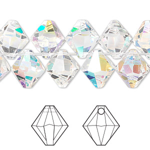 drop, swarovski crystals, crystal passions, crystal ab, 10mm faceted bicone pendant (6301). sold per pkg of 12.