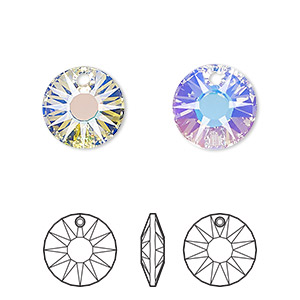drop, swarovski crystals, crystal passions, crystal ab, 12mm faceted sun pendant (6724). sold per pkg of 2.