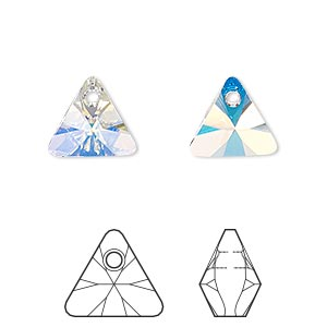 drop, swarovski crystals, crystal passions, crystal ab, 12mm xilion triangle pendant (6628). sold per pkg of 2.