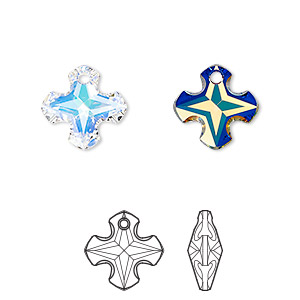 drop, swarovski crystals, crystal passions, crystal ab, 14mm faceted greek cross pendant (6867). sold per pkg of 12.