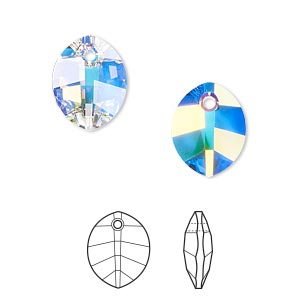 drop, swarovski crystals, crystal passions, crystal ab, 14x11mm faceted pure leaf pendant (6734). sold per pkg of 12.