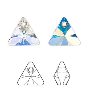 drop, swarovski crystals, crystal passions, crystal ab, 16mm xilion triangle pendant (6628). sold individually.