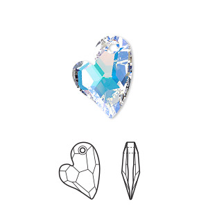 drop, swarovski crystals, crystal passions, crystal ab, 17x13mm faceted devoted 2 u heart pendant (6261). sold per pkg of 6.