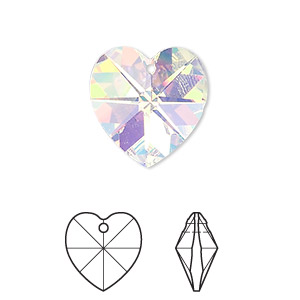 drop, swarovski crystals, crystal passions, crystal ab, 18x18mm xilion heart pendant (6228). sold per pkg of 24.